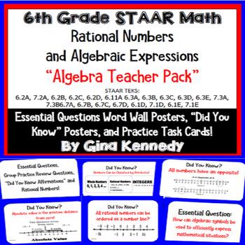 6th Grade Math STAAR Algebra: Posters, Task Cards, Essenti