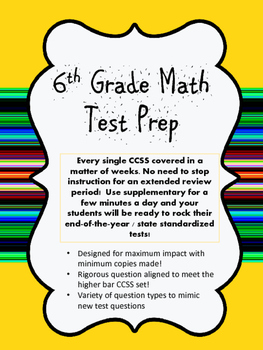 6th Grade Math Test Prep End Of The Year Review