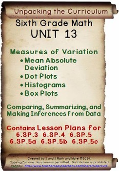 6th Grade Math: Unit 13 Common Core Lesson Plans with Link