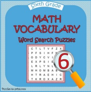 Sixth Grade Math Word Search Bundle