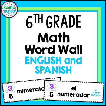 6th Grade Math Word Wall Cards - ENGLISH AND SPANISH - 154