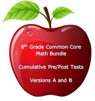 6th Grade Math:Common Core Cumulative Pre and Post Tests: