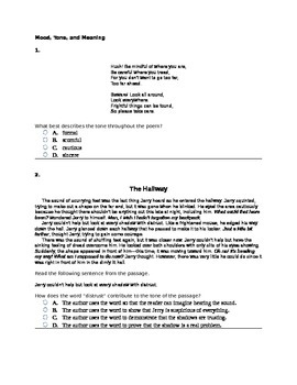 6th Grade Mood, Tone, and Meaning Common Core Question Set