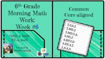 6th Grade Morning Math Work (and a little ELA, too!) Week #6