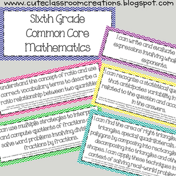 6th Grade Multi-Colored Chevron Math Common Core Objectives