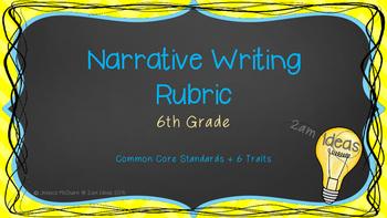 6th Grade Narrative Writing Rubric with Common Core Standa