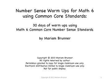 6th Grade Number Sense 30 Days of Warm Ups: Common Core 6t