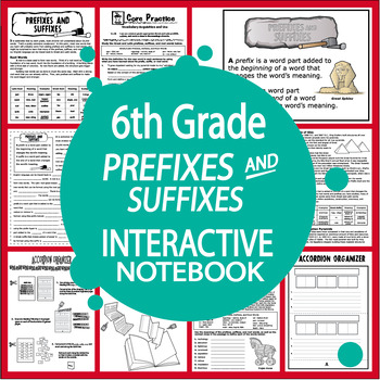 6th Grade Prefixes and Suffixes Interactive Notebook Lesso