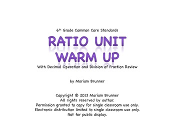6th Grade Ratio and Proportion - 20 Days of Warm Ups: Comm