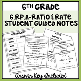 6th Grade Ratio and Rates Student Guided Notes