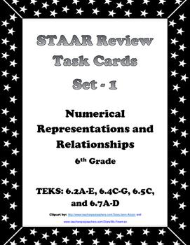 6th Grade STAAR Math Task Cards-Set 1-Numerical Representa