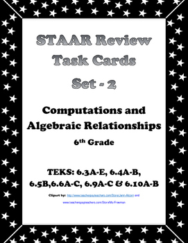 6th Grade STAAR Math Task Cards-Set 2-Computations and Alg