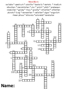 6th Grade Science Review Crossword