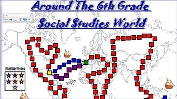 6th Grade Social Studies Review Board Game (Smart Board)