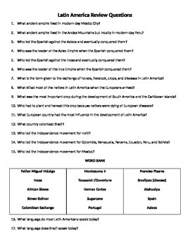 6th Grade Social Studies Review Questions (Latin America)