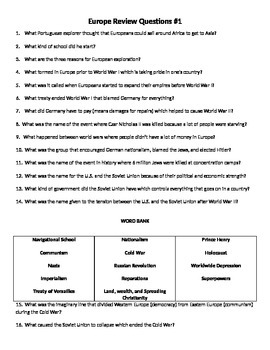 6th Grade Social Studies Review Questions (Word & PPT Bundle)