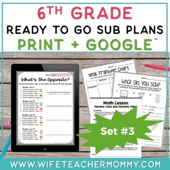 6th Grade Sub Plans Ready To Go for Substitute. DAY #3. No