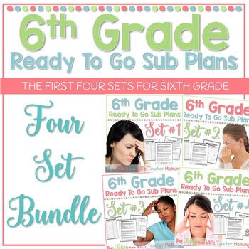 6th Grade Sub Plans Ready To Go for Substitute. No Prep. F
