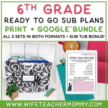 6th Grade Sub Plans Ready To Go for Substitute. No Prep. O