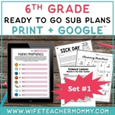6th Grade Sub Plans Ready To Go for Substitute. No Prep. O