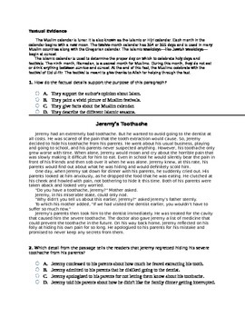 6th Grade Textual Evidence Common Core Question Set