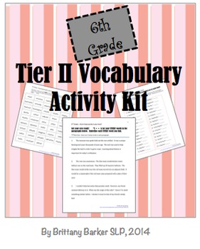 6th Grade Tier 2 Vocabulary Activity Kit