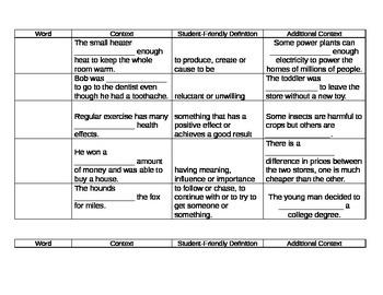 6th Grade Tier 2 Vocabulary Week 10