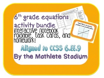 6th Grade Writing and Graphing Equations Task Cards, Inter