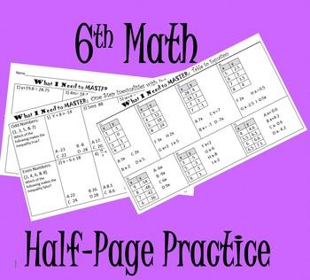 6th Math Mini Practice or Quizzes (15 Concepts)