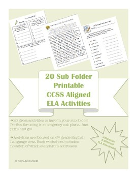 6th grade 20 ELA CCSS aligned worksheets -for Sub Tub & Em