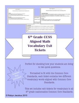 6th Grade Math- Common Core Standard Vocabulary Exit Ticke