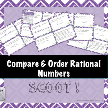 Compare and Order Rational Numbers Skill Cards (Scoot!)