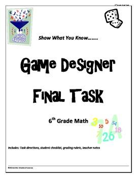 """6th grade Math Common Core """"Game Designer"""" Final Project"""