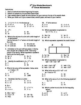 6th grade Math Exam Common Core EE 1-9 PDF