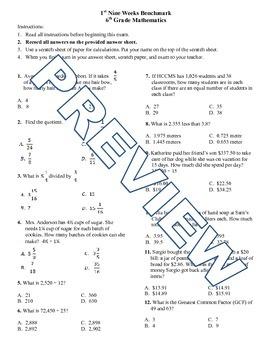 6th grade Math Exam Common Core NS 1-4 RP.1-3