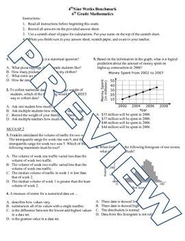 6th grade Math Exam Common Core SP 1-5
