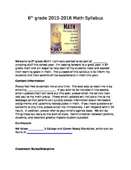 6th grade Math Syllabus
