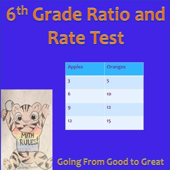 6th grade Ratio/Rate Test Math Test