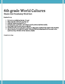 6th grade World Cultures Mexico Word Sort