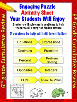 6th grade cumulative end of the year review (18 problems)
