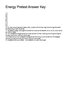 6th grade energy pretest key