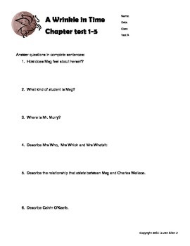 A Wrinkle in Time- 6th grade leveled chapter and final book tests