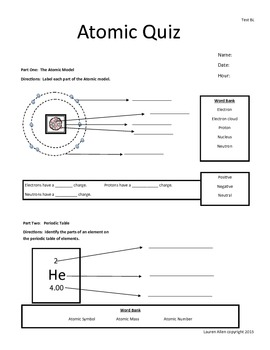 6th grade test Atoms and Periodic Table - below or basic level