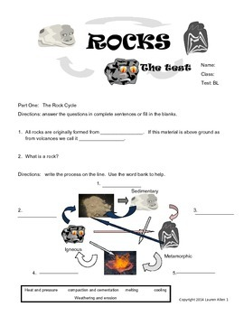 6th rock cycle final test- below to low reading level