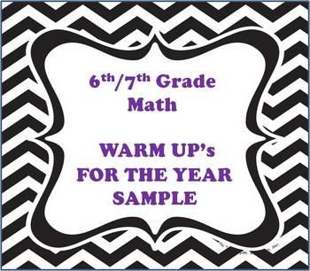 6th/7th Math Warm Up Sample