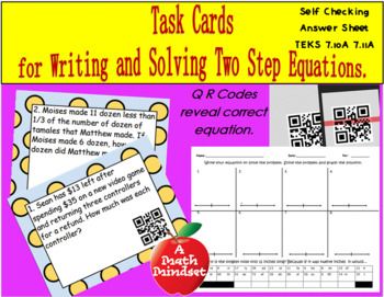 7.10 A , 7.11A  Writing and solving 2 step equations Task