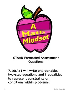 7.10 A Assessment- Writing equations and inequalities
