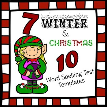 7 10 word Spelling Test Templates for Christmas and WInter