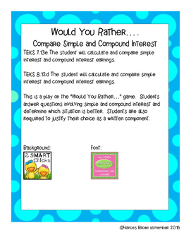 7.13e 8.12d Would You Rather.. Compare Interest Personal F
