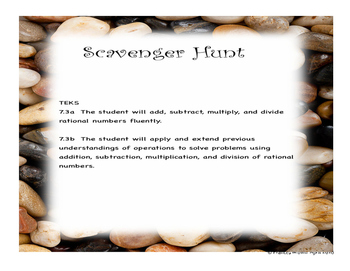 7.3ab Rational Number Operations Scavenger Hunt